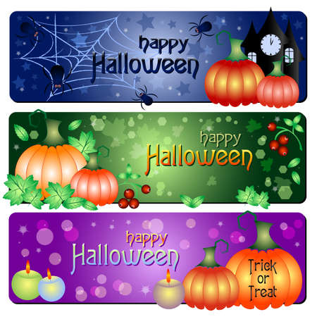 Holiday banners on theme Halloween with field for text Vector
