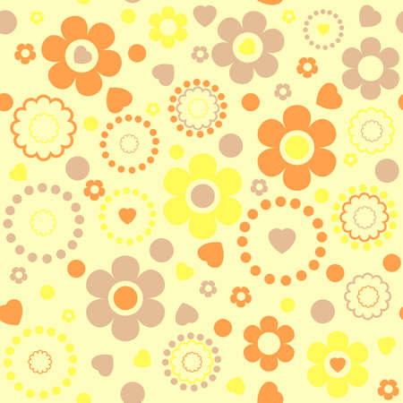 Seamless floral pattern in yellow tones. Vector illustration Vector