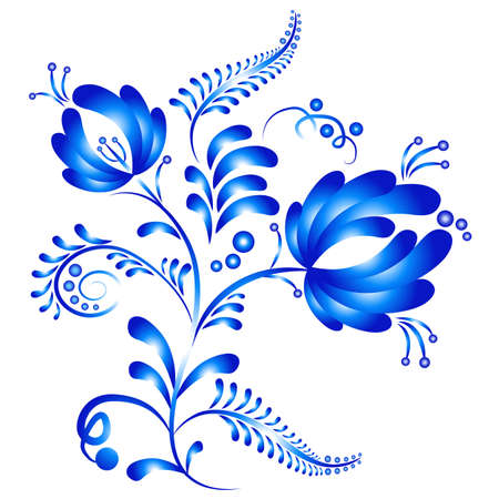 Floral ornament in Gzhel style. Russian folklore. Vector illustration