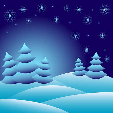 snowdrifts: Sfondo invernale con abeti sul cumuli di neve e con diversi fiocchi di neve 2015. Illustrazione vettoriale