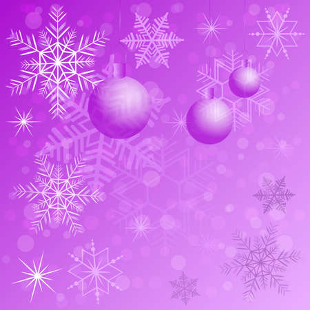 Winter background with different snowflakes and balls 2015. Vector illustration Vector