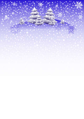 snowdrifts: Winter background with fir trees on snowdrifts and with different snowflakes 2015. Vector illustration