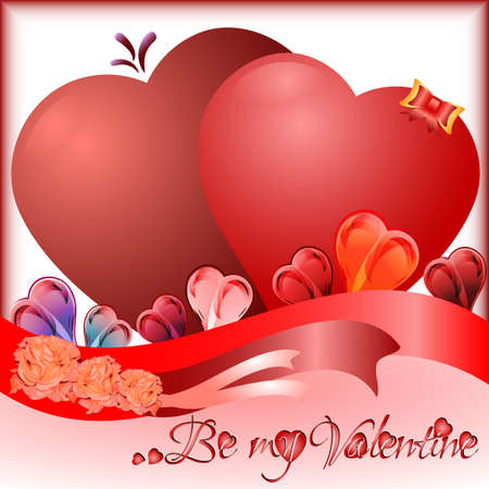 heart tone: Tarjeta de felicitaci�n de vacaciones con el coraz�n en el d�a de San Valent�n s. Vectores