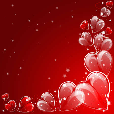 Festive background with hearts on Valentine s day. Vector