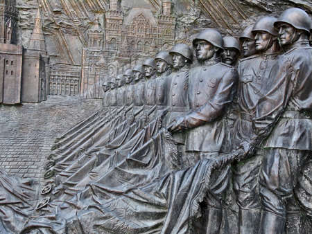 war decoration: Bas-relief, depicting Victory Parade on Red Square in 1945, July 26, 2014, Victory Park on Poklonnaya hill, Moscow, Russia