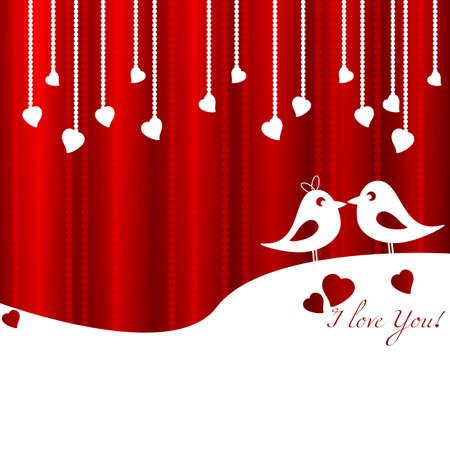 heart tone: Tarjeta festiva con los p�jaros en amor para San Valent�n d�a. 14 de febrero - d�a para todos los amantes. Ilustraci�n vectorial Vectores
