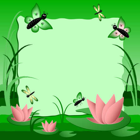 Childrens illustration with label for text. Swamp with lotus. Green color. Vector illustration Vector