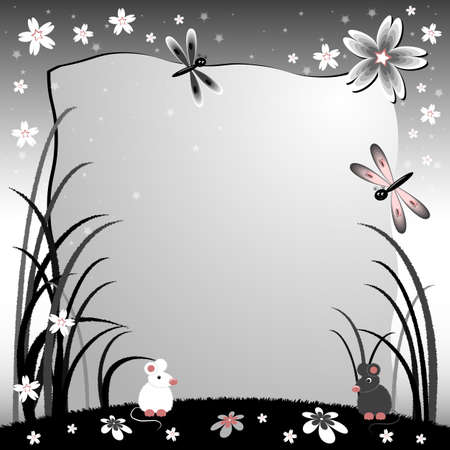 Childrens illustration with label for text. Lawn at night with mice. Black and white colors. Vector illustration Vector