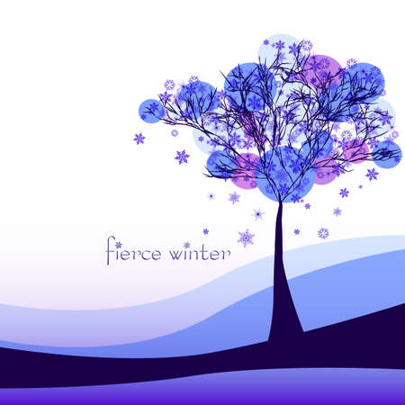 cruel: Abstract nature background with tree. Cruel winter. Vector illustration