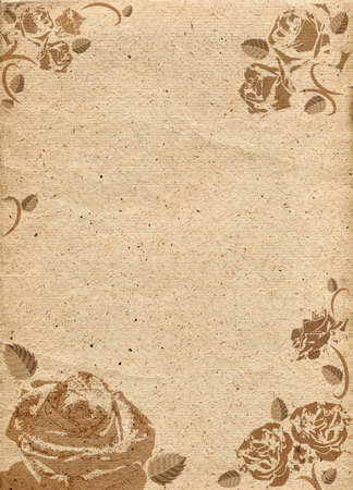 Paper in beige color tone with ornament in form of roses. Raster illustration