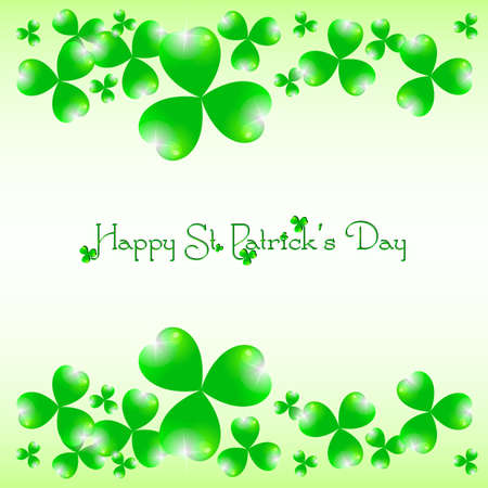 march 17: Holiday card with shamrocks on white background on St. Patricks Day. March 17 - day of good luck, fortunate shamrocks and leprechauns. Vector illustration