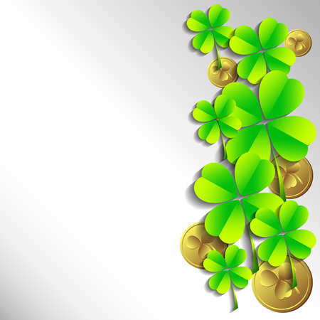 fortunate: Holiday card with shamrocks and coins on grey background on St. Patricks Day. March 17 - day of good luck, fortunate shamrocks and leprechauns. Vector illustration