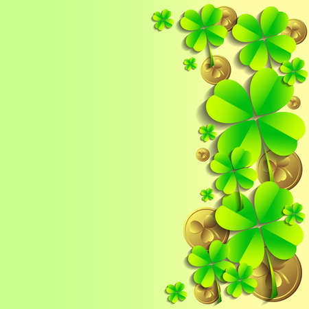 fortunate: Holiday card with shamrocks and coins on green background on St. Patricks Day. March 17 - day of good luck, fortunate shamrocks and leprechauns. Vector illustration
