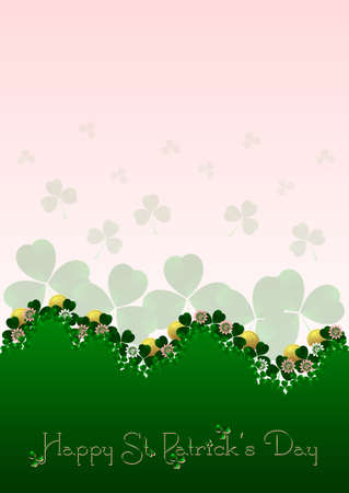 Holiday card on St. Patricks Day. March 17 - day of good luck, fortunate shamrocks and leprechauns. Vector illustration Vector