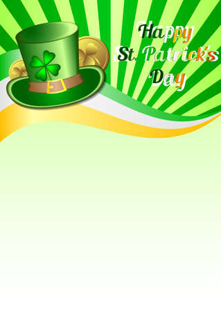 fortunate: Holiday card on St. Patricks Day. March 17 - day of good luck, fortunate shamrocks and leprechauns. Vector illustration