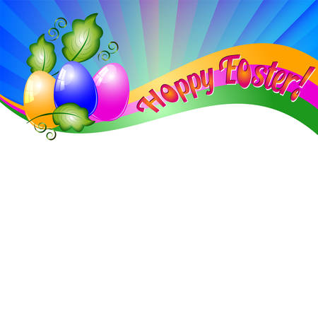 christ is risen easter: Background for Easter with colored eggs and green leaves. Christ Is Risen. Vector illustration