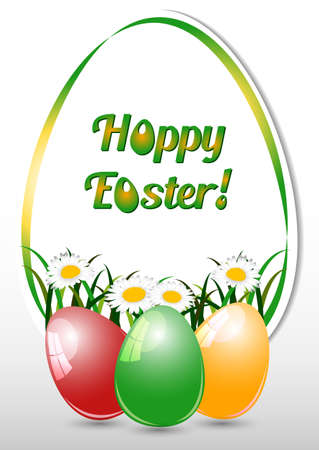 camomiles: Greeting card for Easter with ornament from eggs and spring camomiles on white background. Christ Is Risen. Vector illustration Illustration