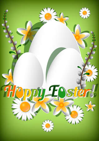 christ is risen easter: Greeting card for Easter with ornament from eggs and spring flowers on green background. Christ Is Risen. Vector illustration