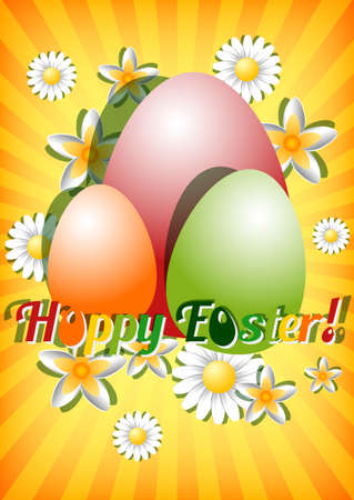 christ is risen easter: Greeting card for Easter with ornament from colored eggs and spring flowers on yellow striped background. Christ Is Risen. Vector illustration