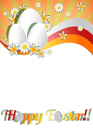 christ is risen easter: Greeting card for Easter with ornament from eggs and spring flowers. Christ Is Risen. Vector illustration Illustration