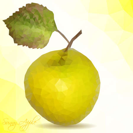 yellow apple: Vector polygon mosaic of yellow apple with green leaf. Vector illustration Illustration