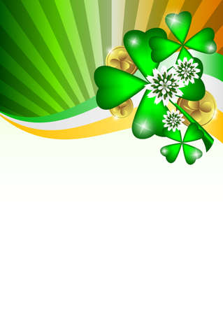 march 17: Holiday card on St. Patricks Day. March 17. Clovers with coins. Vector illustration
