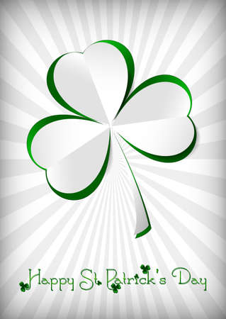march 17: Holiday card on St. Patricks Day. March 17. Paper clover on striped white background. Vector illustration
