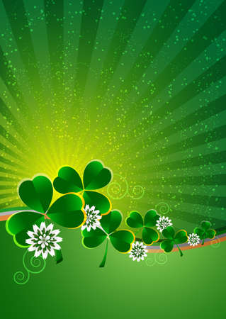 march 17: Holiday card on St. Patricks Day. March 17. Striped background with clovers. Vector illustration Illustration