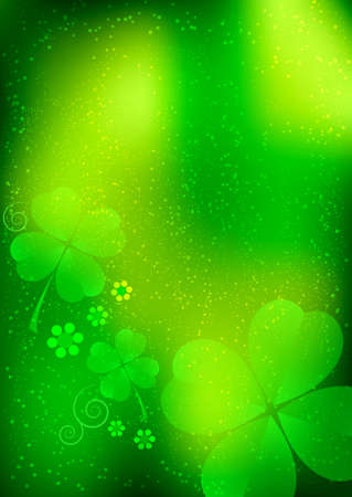 march 17: Holiday card on St. Patricks Day. March 17. Blurred background with shamrocks. Vector illustration Illustration