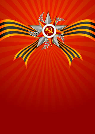 defender: Holiday background in red with Georgievsky ribbon and star on Victory Day or Defender of the Fatherland day. May 9. February 23. Vector illustration
