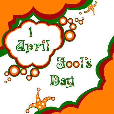 jest: Postcard aprile 1 - April Fools giorno. Illustrazione vettoriale