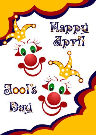 jest: Postcard il 1 � aprile - April Fools giorno. Due volti di giullari. Illustrazione vettoriale