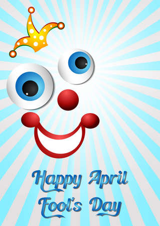 prank: Postcard on April 1 - April Fools day. Face of joker on light blue. Vector illustration Illustration