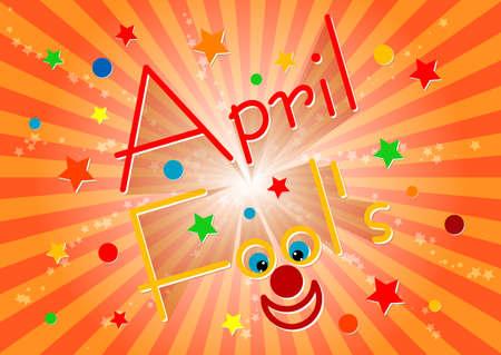 Postcard on April 1 - April Fools day. Orange striped background. Vector illustration