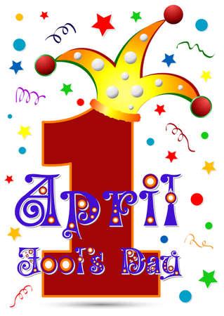 4월: Postcard on April 1 - April Fools day. Number One  in jester hat. Vector illustration