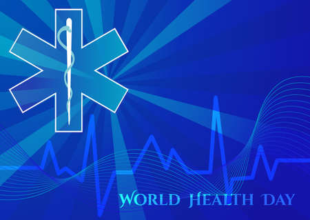 asclepius: Abstract background with medical symbols. World Health day. Star of Life. Vector illustration