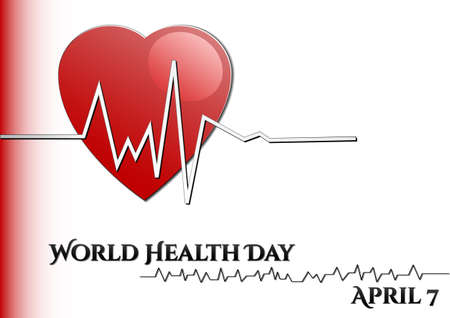 rhythm: Abstract background with medical symbols. World Health day. Heart with rhythm. Vector illustration