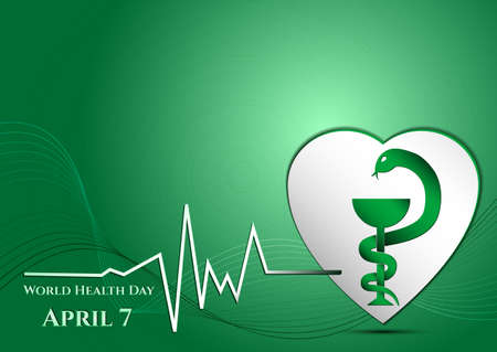 heart vessel: Abstract green background with medical symbols. World Health day. Vessel of Gigia on heart. Vector illustration Illustration