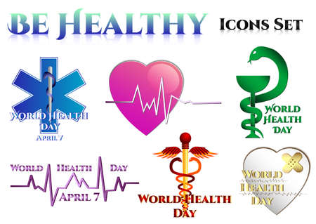asclepius: Medical symbols on white. World Health day. Star of Life. Heart with rhythm. Vessel of Gigia. Staff of Asclepius. Caduceus. Vector illustration