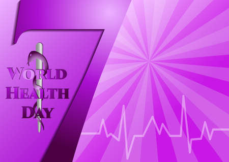 asclepius: Abstract violet background with medical symbols. World Health day. Number 7 and Staff of Asclepius. Vector illustration Illustration