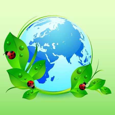 Postcard on April 22 - Earth day. Globe with green leaves and ladybugs on green. Vector illustration