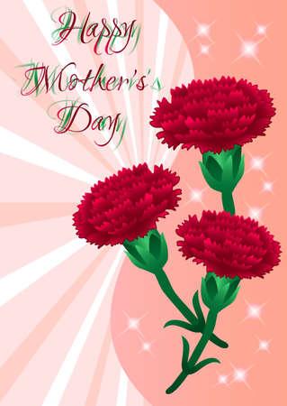 claveles: Tarjeta de felicitaci�n con claveles rojos en d�a de la madre en el fondo de rayas de color rosa. Ilustraci�n vectorial