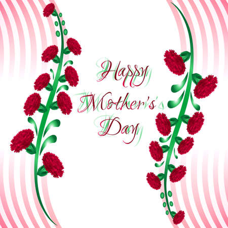 womanish: Greeting card with red carnations on stem for Mothers day on white background with stripes. Vector illustration