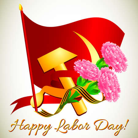 hammer and sickle: Postcard for holiday of Spring and Labor. Mayday. Hammer and sickle with carnations on red flag. Vector illustration