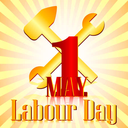 Postcard for holiday of Spring and Labor. Mayday. Tolls on striped background. Vector illustration