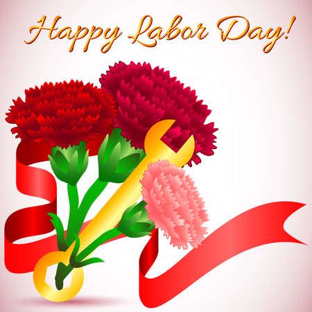 mayday: Postcard for holiday of Spring and Labor. Mayday. Bouquet of carnations with wrench. Vector illustration