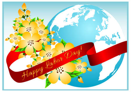 mayday: Postcard for holiday of Spring and Labor. Mayday. Flowers of cherry with blue globe. Vector illustration Illustration