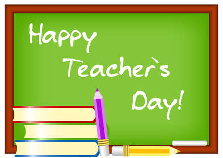 greenboard: Postcard for Teachers Day. Greenboard with greeting written by chalk. Vector illustration