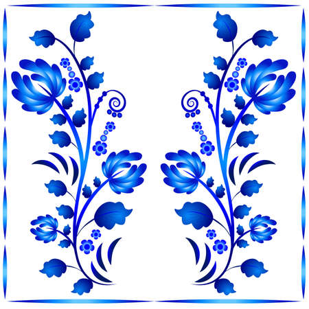 Floral ornament in Gzhel style. Two stems with flowers in frame. Russian folklore. Vector illustration