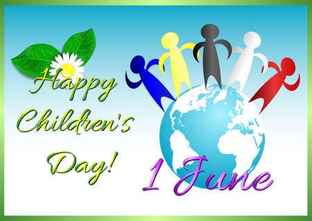 1: Postcard on June 1 International Childrens Day.